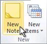 Comando Nueva nota en la cinta de opciones