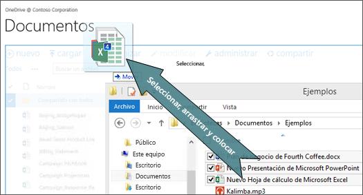Arrastre y suelte para cargar archivos a OneDrive