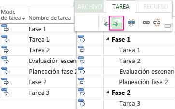 Una lista de tareas con tareas de resumen y subtareas en el diagrama de Gantt