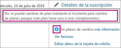 Ver el mensaje No hay planes de conmutador en Office 365 para empresas.