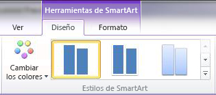 Grupo Estilos SmartArt de la pestaña Diseño en Herramientas de SmartArt