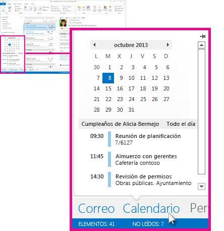 Información del calendario