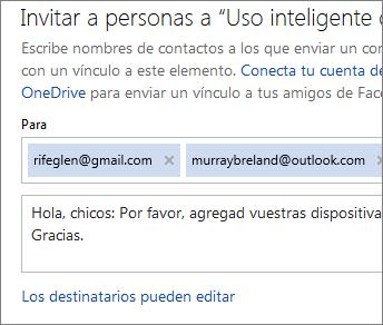 Escribir direcciones de correo electrónico y un mensaje para enviar un mensaje de correo electrónico con un vínculo