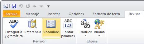 Outlook Ribbon Thesaurus Icon