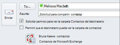 Solicitar acceso a los contactos de Exchange de otra persona