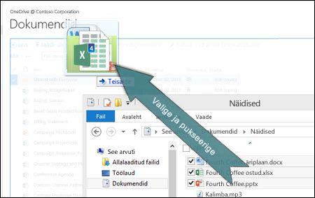 Failide pukseerimine OneDrive'i üleslaadimiseks