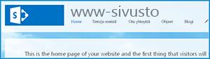 Näyttökuva SharePoint Onlinen julkisen sivuston oletuskotisivusta