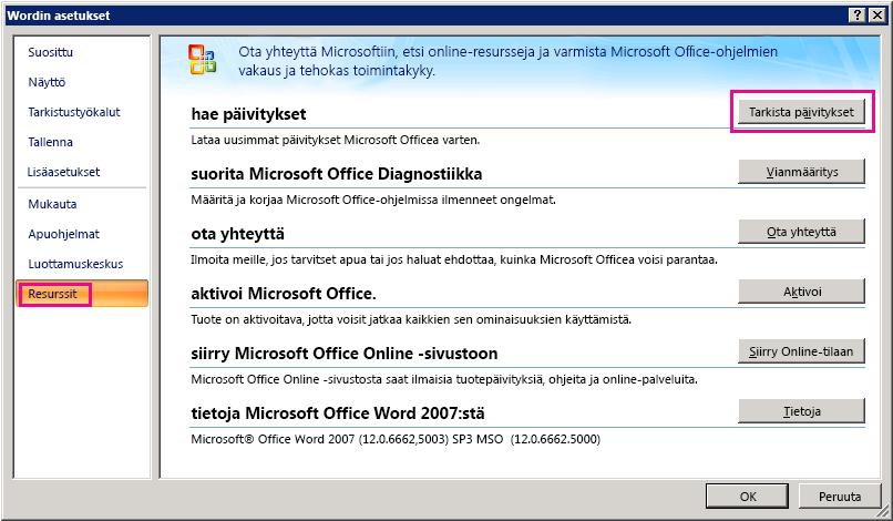 Office-päivitysten tarkistaminen Word 2007:ssä