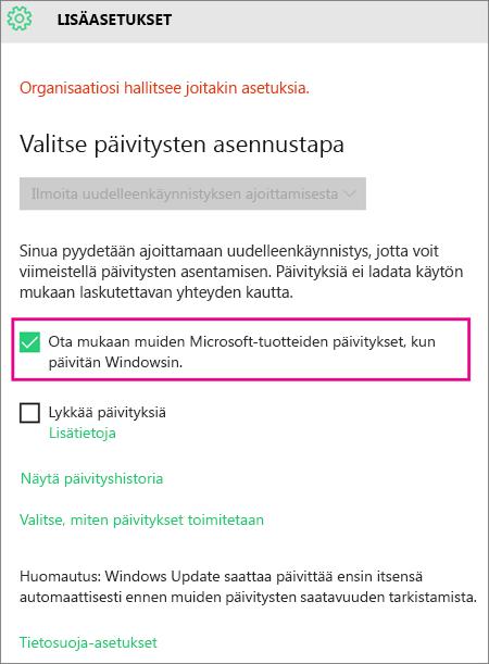 Windows Updaten Lisäasetukset
