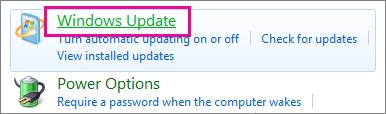 Ohjauspaneelin Windows Update -linkki