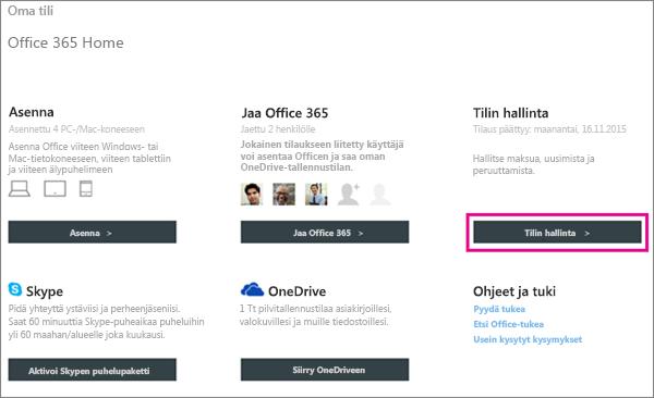 """Näyttökuva Oma tili -sivusta, jossa on valittuna """"Tilin hallinnointi"""" -painike."""