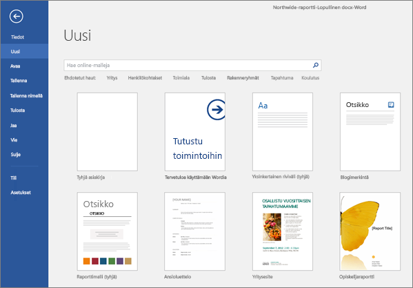 A list of available Word templates is shown.