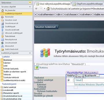 Näkymän luominen Microsoft SharePoint Designer 2010:llä