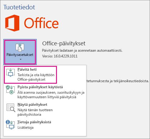Office-päivitysten tarkistaminen manuaalisesti Word 2016:ssa