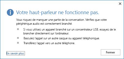 Capture d'écran d'une erreur audio et des options à vérifier