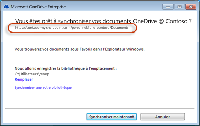 Assistant OneDrive Entreprise avec l'URL préremplie
