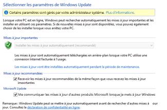 Paramètres Windows Update de Windows 8 dans le Panneau de configuration