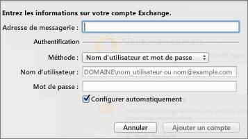Entrez les informations de votre compte Exchange