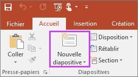 Afficher le bouton Nouvelle diapositive sous l'onglet Accueil du ruban dans PowerPoint