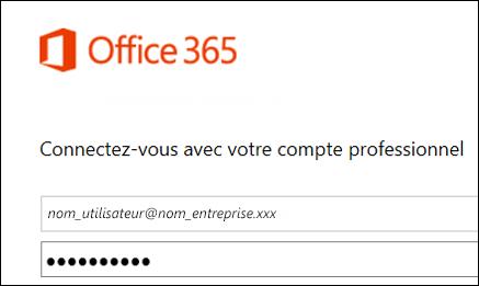 Écran de connexion au portail Office 365