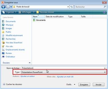 Enregistrer un fichier dans PowerPoint2010.