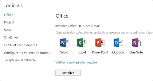 Écran du programme d'installation des paramètres Office365 sur un Mac
