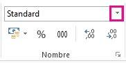 Zone Format de nombre sous l'onglet Accueil