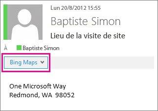 Message Outlook montrant l'application Bing Maps