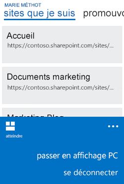 Menu pour basculer de l'affichage mobile à l'affichage PC sur un Windows Phone