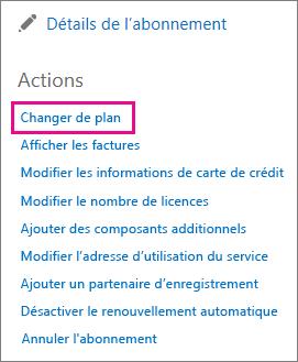 Lien Changer de plan permettant de changer de plan Office365.