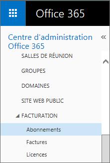 Lien vers la page Abonnements dans Office365 Petite Entreprise Premium