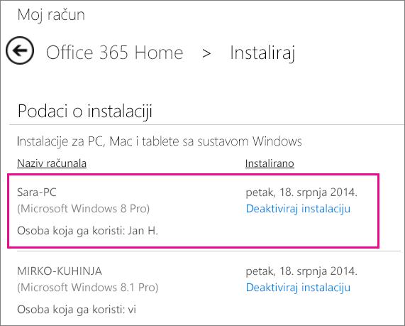 Snimka zaslona stranice Instalacija s odabranim nazivom računala i imenom osobe koja je instalirala Office.