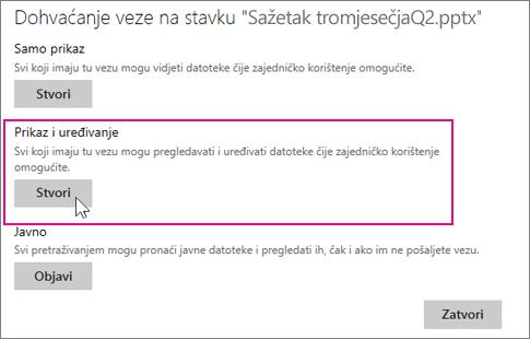 Omogućivanje pregledavanja i uređivanja prezentacije drugim korisnicima