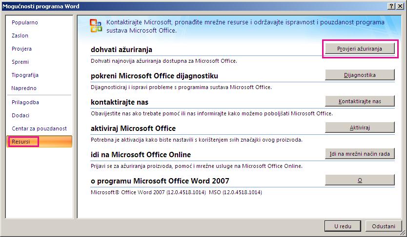 Traženje ažuriranja sustava Office u programu Word 2007