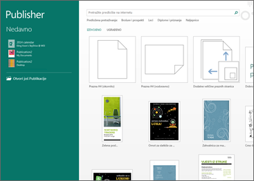 Snimka zaslona predložaka za početak rada u programu Publisher.