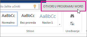 Otvaranje u programu Word iz prikaza za uređivanje u web-aplikaciji Word Online