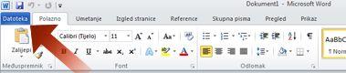 Strelica koja pokazuje na karticu Datoteka u programu Word