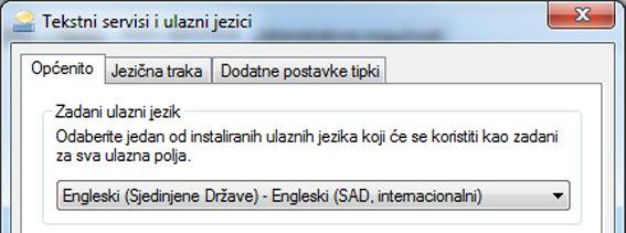 Dijaloški okvir Tekstni servisi i ulazni jezici
