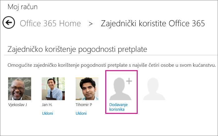 """Snimka zaslona stranice Zajedničko korištenje sustava Office 365 s odabranom mogućnošću """"Dodavanje korisnika""""."""