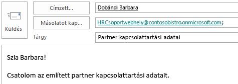 E-mail üzenet a Másolatot kap mezőben a webhelyfiók címével