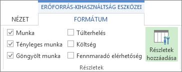 Erőforrás-kihasználtság eszközei – Formátum lap, Részletek hozzáadása parancs