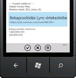 Kép egy mobilkészüléken megjelenő Bekapcsolódás Lync-értekezletbe hivatkozásról