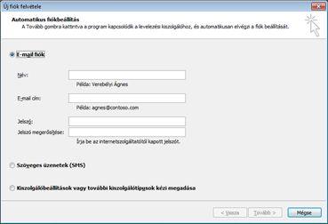 Új fiók hozzáadása párbeszédpanel kijelölt e-mail fiókkal