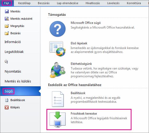 Office-frissítések manuális keresése a Word 2010-ben