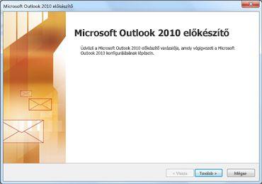 Az Outlook 2010 indítóablaka