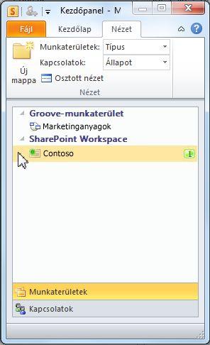 SharePoint-munkaterület a kezdőpanelen