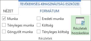 Tevékenység-kihasználtság eszközei – Formátum lap, Részletek hozzáadása parancs
