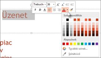 Szöveg színének megváltoztatása