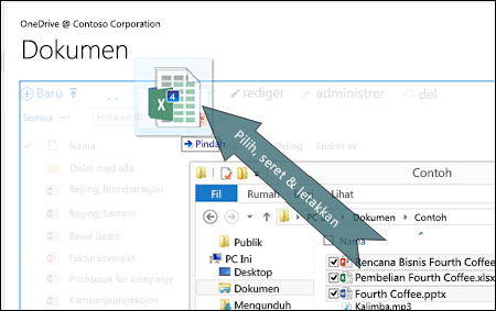 Menyeret dan meletakkan untuk mengunggah file ke OneDrive