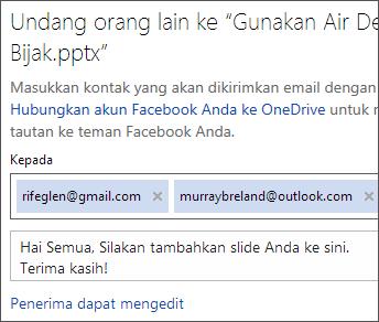 Ketik alamat email dan pesan untuk mengirim link melalui email